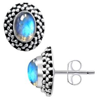 Orchid Jewelry 2 Carat Rainbow Moonstone 925 Sterling Silver Stud Earrings