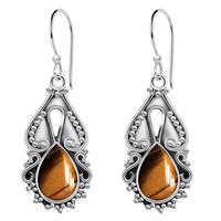 Orchid Jewelry 925 Sterling Silver 4 4/5 Carat Tiger Eye Handmade Earrings