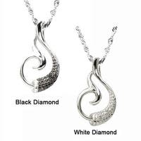 De Buman Sterling Silver White or Black Diamond Circle Necklace