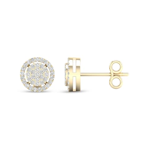 De Couer IGI Certified 1/5ct TDW Diamond Halo Earrings - Yellow