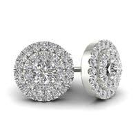 De Couer 1ct TDW Diamond Double Halo Earrings (H-I, I2) - White