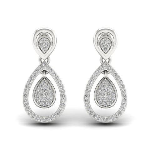 De Couer IGI Certified 1/4ct Diamond Infinity Drop Earrings (H-I, I2) - White