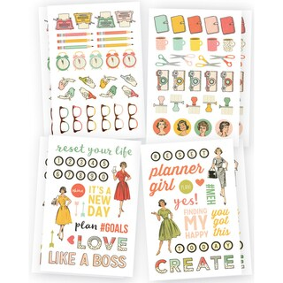 "Reset Girl Stickers 4""X6"" 8/Pkg-Icons, 4 Designs/2ea"