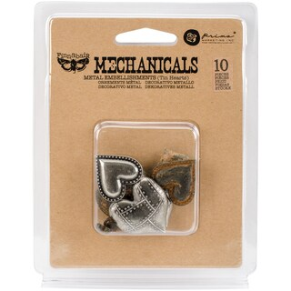 Finnabair Mechanicals Metal Embellishments-Tin Hearts 10/Pkg
