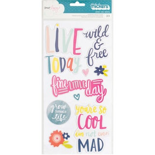 """Dear Lizzy Lovely Day Thickers Stickers 5.5""""X11"""" 2/Pkg-Lovely Phrases/Multi Chipboard"""