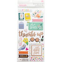 """Paige Evans Oh My Heart Thickers Stickers 5.5""""X11"""" 2/Pkg-Good Life Icon/Rose Gold Foiled Chip"""