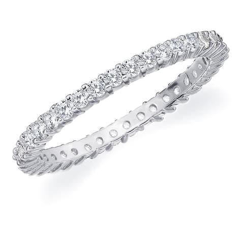 Amore 10K White Gold 0.50 CTTW Eternity Shared Prong Diamond Wedding Band