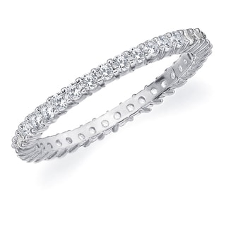 Amore 10K White Gold 0.50 CTTW Eternity Shared Prong Diamond Wedding Band