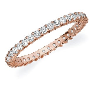 Amore 10K Rose Gold 0.50 CTTW Eternity Shared Prong Diamond Wedding Band