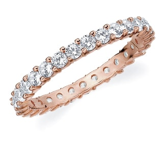 Amore 10K Rose Gold 1.0 CTTW Eternity Shared Prong Diamond Wedding Band