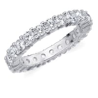 Amore 10K White Gold 2.0 CTTW Eternity Shared Prong Diamond Wedding Band