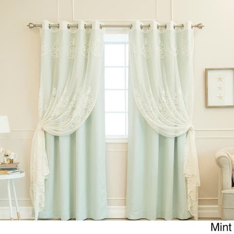Aurora Home Mix & Match Agatha Sheer and Blackout 4 Piece Curtain Set