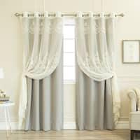 Aurora Home Agatha Sheer and Blackout Curtain Set - N/A