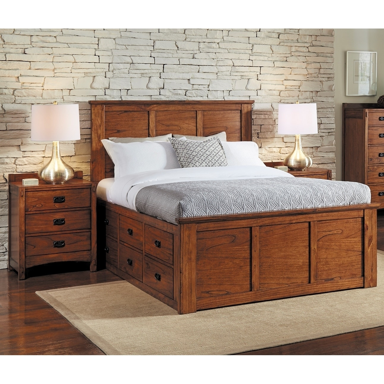 Simply Solid Aira Oak Wood Storage Bed (King), Brown