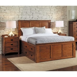 Simply Solid Aira Oak Wood Storage Bed