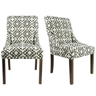 MARIE M10099 Upholstered Spring Seat Double Dow Dining Chairs with Nailhead Trim, Weather Walnut legs (Set of 2)