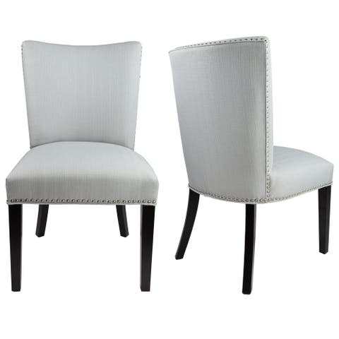 SYDNEY Concave Back Style SACHI Upholstered Fabric, Silver Nail Head, Dining Chair with Spring Seating, Espresso legs (Set of 2)