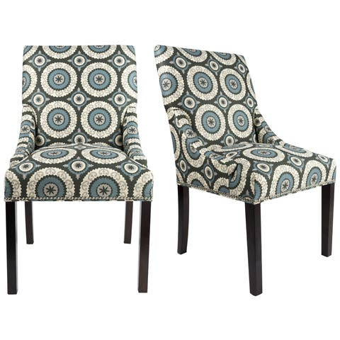 MARIE Collection NISA Upholstered Spring Seat Double Dow Dining Chairs with Nailhead Trim, Espresso legs (Set of 2)