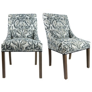 MARIE M1007 Upholstered Spring Seat Double Dow Dining Chairs with Nailhead Trim, Weather Walnut legs (Set of 2)
