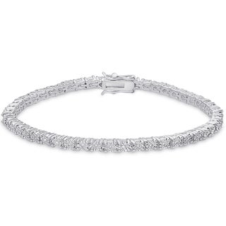 Finesque Sterling Silver 1/10ct TW Diamond Miracle Plate Tennis Style Bracelet (I-J, I2-I3)