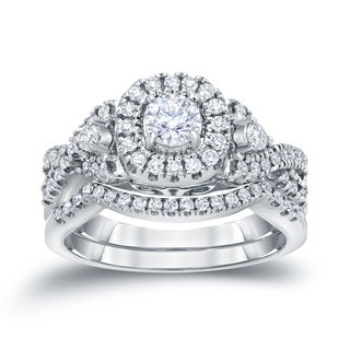 Auriya 14k 3/4ct TDW Halo Diamond Braided Bridal Ring Set (H-I, I1-I2)