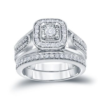 Auriya 14k 3/4ct TDW Round Diamond Vintage Inspired Bridal Ring Set (H-I, I1-I2)