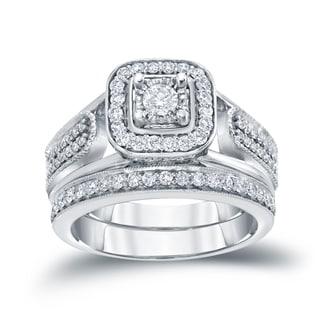 Auriya 14k 3/4ct TDW Round Diamond Vintage Inspired Bridal Ring Set (H-I, I1-I2)