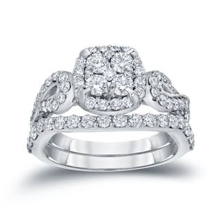 Auriya 14k 1 1/2ct TDW Cluster Diamond Braided Bridal Ring Set (H-I, I1-I2)