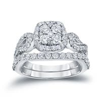 Auriya 14k 1 1/2ct TDW Vintage Infinity Inspired Diamond Halo Engagement Ring Set