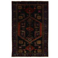 Herat Oriental Persian Hand-knotted Tribal Balouchi Wool Rug (4'2 x 6'7)