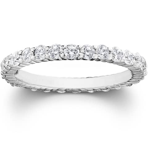 14k White Gold 1ct TDW Lab Grown Diamond Eco-friendly Eternity Stackable Wedding Band