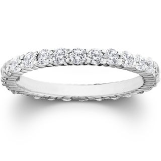 14k White Gold 1 cttw Diamond Eco Friendly Lab Grown Eternity Wedding Ring Womens Stackable Anniversary Band (F-G,SI1-SI2)