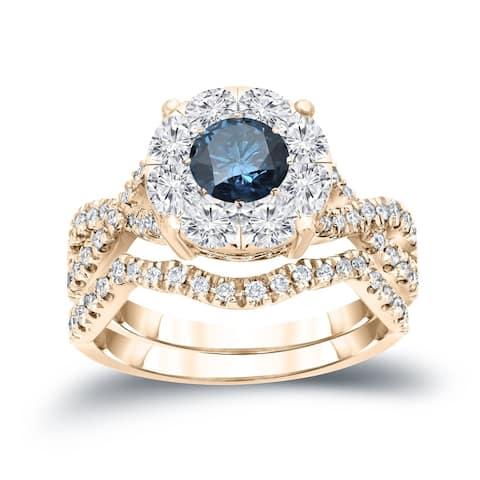 Auriya 1 1/5ctw Infinity Round Blue Halo Diamond Engagement Ring Set 14k Gold