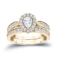 Auriya 14k 1ct TDW Pear-Shaped Diamond Halo Engagement Ring Set