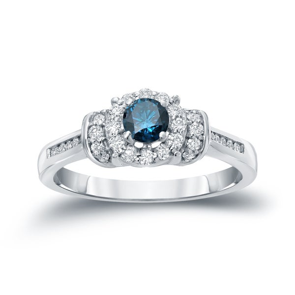 Auriya 14k Gold 1/2ct TDW Blue Diamond Engagement Ring (H-I, I1-I2)