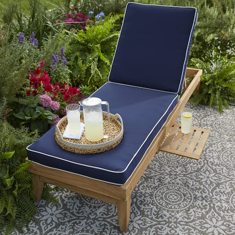 "Deluxe Teak Hinged Sunbrella Fabric Chaise Cushion - 24""W x 73""L x 3""H"