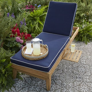 Deluxe Teak Hinged Chaise Cushion With Sunbrella Fabric