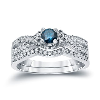 Auriya 14k 1/2ct TDW Blue Diamond Braided Bridal Ring Set (H-I, I1-I2)