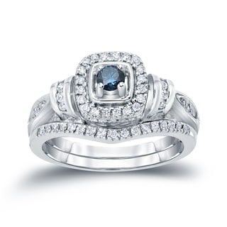 Auriya 14k 1/2ct TDW Halo Blue Diamond Bridal Ring Set (H-I, I1-I2)