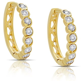 Finesque Gold over Sterling Silver .12ct TDW Diamond Miracle Plate Hoop Earrings (I-J, I2-I3)