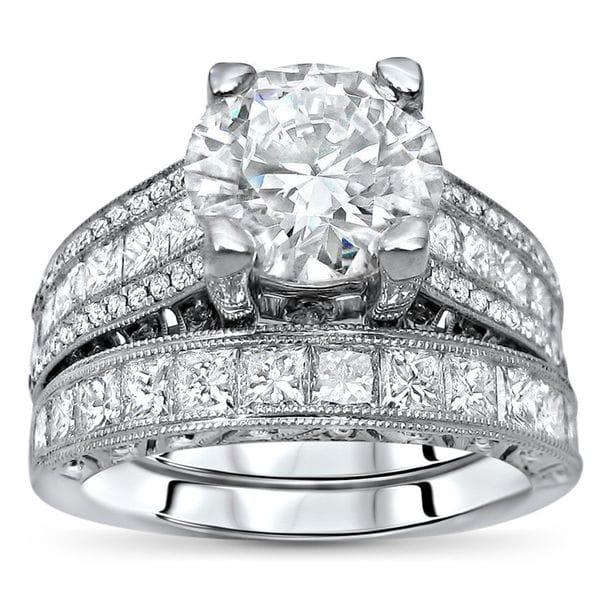 18k White Gold 5 1/5ct TGW Moissanite Diamond Engagement Ring Bridal Set. Opens flyout.