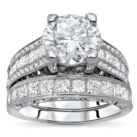 5 1/5 ct TGW Round Moissanite Princess Cut Diamond Engagement Ring Bridal Set 18k White Gold