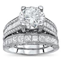 5 1/5 ct TGW Round Moissanite Princess Cut Diamond Engagement Ring Bridal Set 18k White Gold
