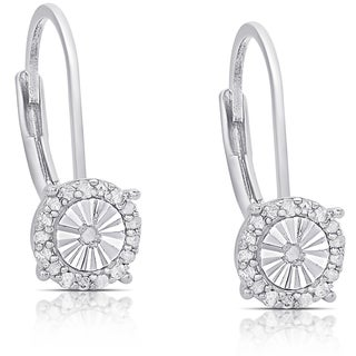 Finesque Sterling Silver 1/4ct TDW Diamond Miracle Plate Dangle Earrings (I-J, I2-I3)