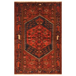 Herat Oriental Persian Hand-knotted Tribal Balouchi Wool Rug (4'2 x 6'5)