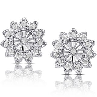 Finesque Sterling Silver 1/10ct TDW Diamond Miracle Plate Flower Design Stud Earrings (I-J, I2-I3)