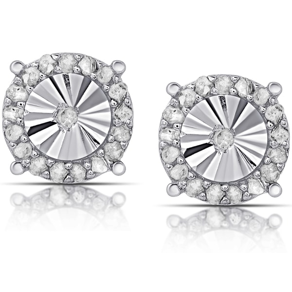 Finesque Sterling Silver 1/10ct TDW Diamond Miracle Plate Round Stud Earrings (I-J, I2-I3)