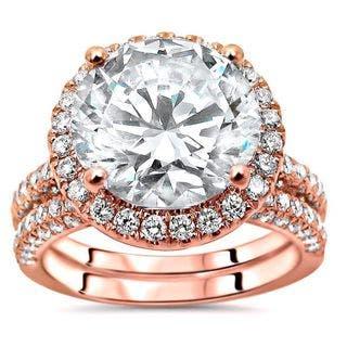 3 3/4 ct TGW Round Moissanite Center 1ct Diamond Surrounding Engagement Ring Bridal Set 14k Rose Gold - White https://ak1.ostkcdn.com/images/products/16118912/P22499770.jpg?impolicy=medium