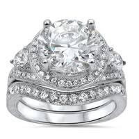 3 3/4 ct TGW Round Moissanite Center 1 ct Diamond Surrounding Engagement Ring Bridal Set 14k White Gold