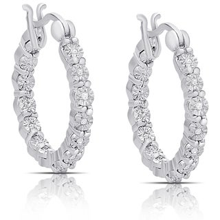 Finesque Sterling Silver 1/10ct TDW Diamond Miracle Plate Hoop Earrings (I-J, I2-I3)